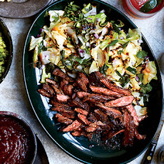 Skirt Steak Fajitas with Grilled Cabbage and Scallions