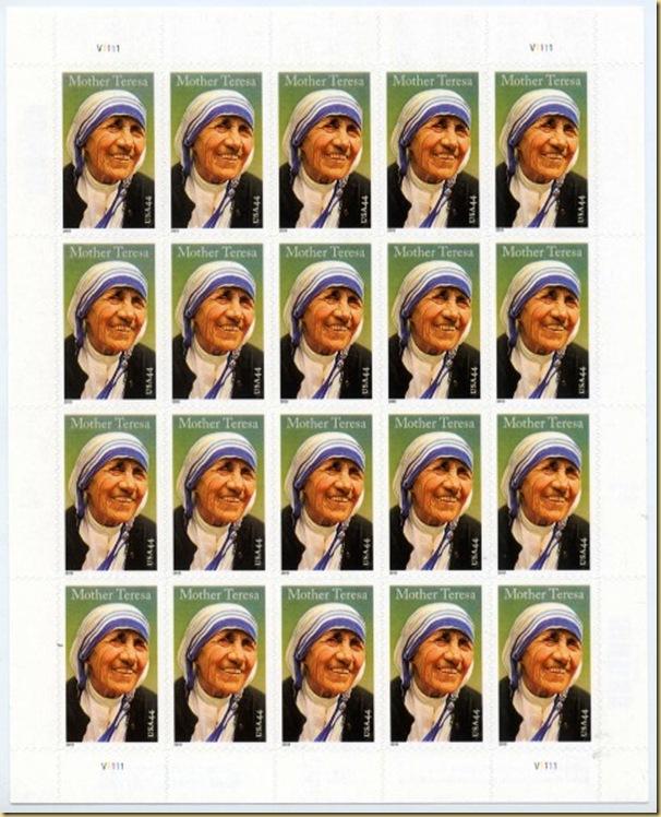 USA Mother Teresa 20 stamps sheet 5 sep 10