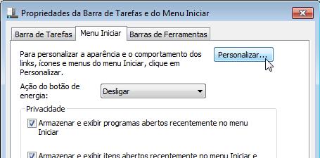 """2. Selecione a aba """"Menu iniciar"""" e clique em """"personalizar""""."""