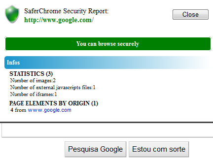 Detalhes de um site - SaferChrome