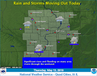 Rain and scattered thunderstorms will be moving out today, with drier conditions expected tonight through Saturday as high pressure settles in. Significant rises and flooding will be found on many area rivers through the weekend.