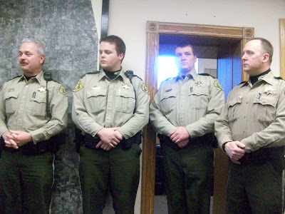 Sheriff Jerry Dunbar (Left) with newly hired reserve officers Kendall Yoder, Eric Long and Mike Bender - KCII NEWS