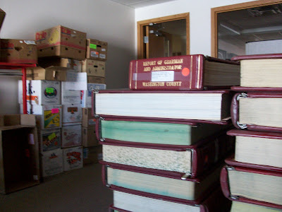 Books and Boxes stacked up and ready to be moved to the WPL's new Facility (KCII NEWS 9/17/)9)