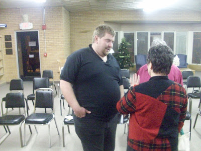 Jeremy Patterson chats with Mayor Sandra Johnson after the Wednesday November 16 2009 Council Meeting (KCII NEWS)