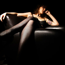 Legs by Imagesby Jake - People Portraits of Women ( abstract, single light, leather, shadows, leggings )