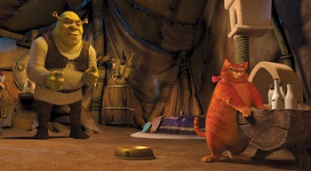 Shrek (MIKE MYERS) takes in the pampered surroundings of the over-coiffed and  over-fed Puss In Boots (ANTONIO BANDERAS) in DreamWorks Animation?s ?Shrek  Forever After,? releasing May 21, 2010 and distributed by Paramount Pictures.