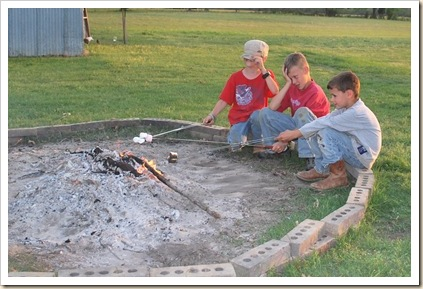 boys roasting marshmallows