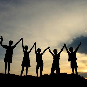 UNITY by NEELANJAN BASU - People Group/Corporate ( unity, silhouette, sunset, children, power, six,  )