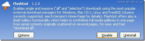 Contoh salah satu Add On Firefox, klik disable atau uninstall untuk menonaktifkan Add-On ini.