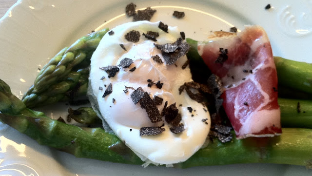 Braised Asparagus, A Double Yolk Egg, Truffles, Coppa