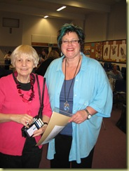 Kim (lady with blue hair) and Wendy who kindly does our raffle, Kim donated one of her books as a priz - thank you Kim