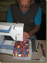 Peter sitiching Mosaic Patchwork - impressed arent you!