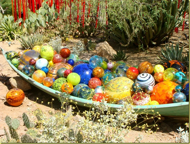 glass boat in desert garden