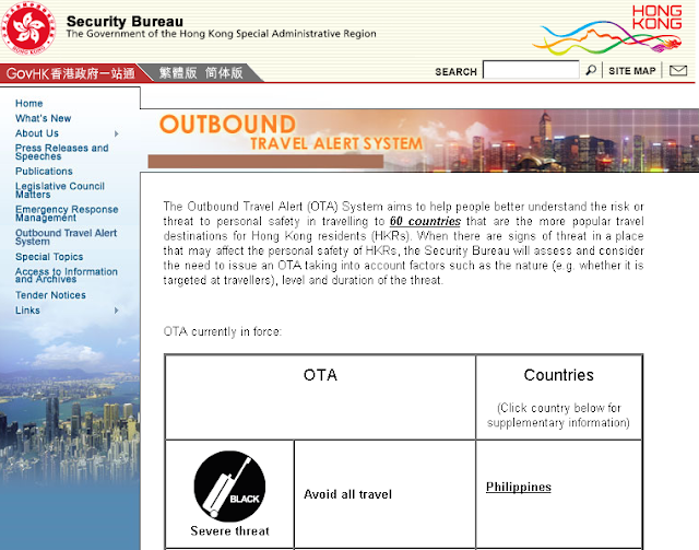 Hong kong's Travel Advisory Against Philippines after the Quirino Grandstand Hostage Taking on August 23, 2010