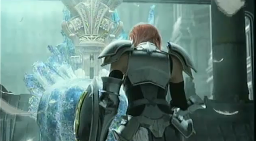 Final Fantasy XIII-2 Announcement Screenshots Lightning kneeling