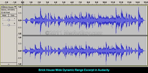 Brick House Wide Dynamic Range Excerpt in Audacity