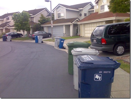 garbage bins awaiting the clenaing truck