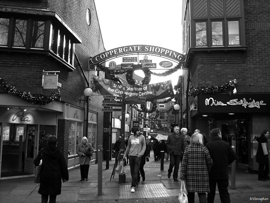 Christmas shopping in Coppergate, York