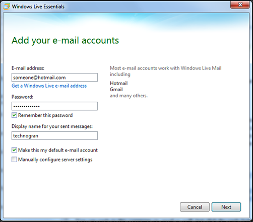 Setting up hotmail account in WLM