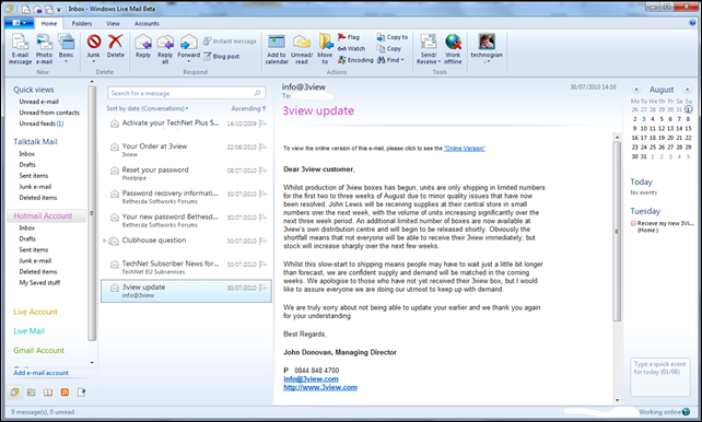 Hotmail inside WLM fully accessable