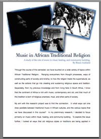 The role of music within African Traditional Religion