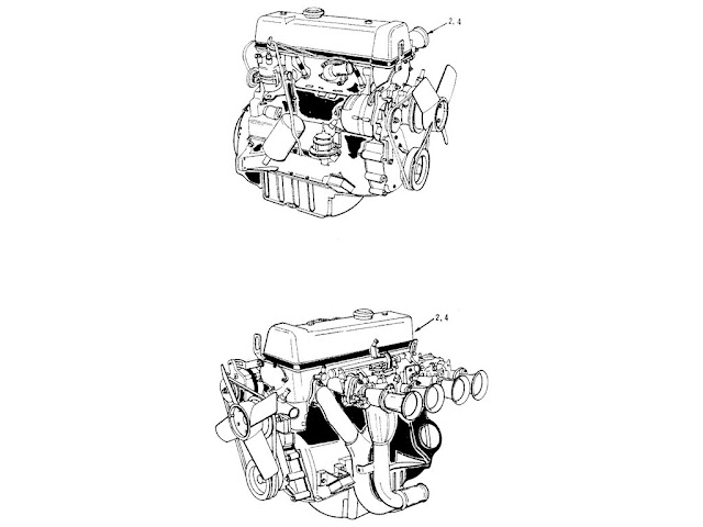 "Datsun Fairlady Parts illustration no. 000A-1 Assy Engine 2000 (U20) ""Solex"""