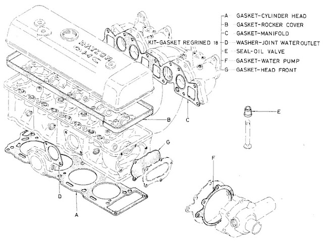 Datsun Fairlady Parts illustration no. 000A-4 Valve Regrinded Kit 2000 (U20)