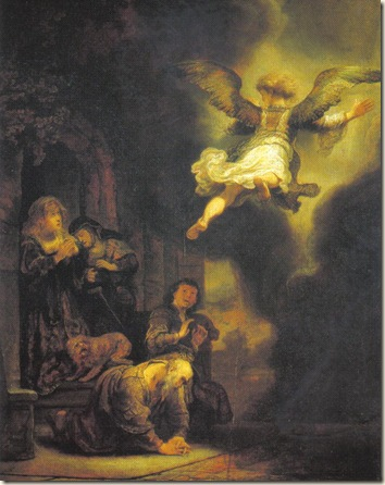 The Archangel Raphael Leaving Tobia's Family Rembrandt