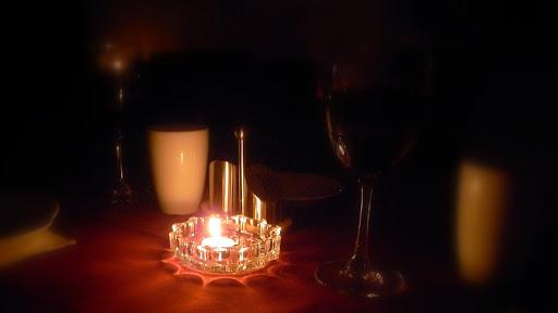 20090826,七夕,店家停电,遂成烛光晚餐。