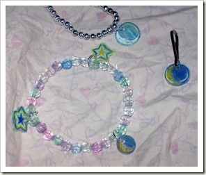 Star and moon shrink plastic jewelry.