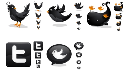 Black Twitter icons by iconhive