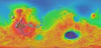 relevo da superfície marciana