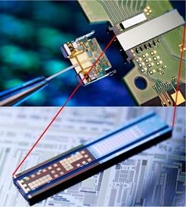 chip transmissor composto por quatro lasers