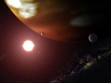 anã vermelha com planeta em sua órbita