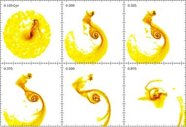 simulação da evolução da galáxia M51 e sua satélite NGC 5195