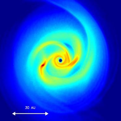 simulação do nascimento de uma estrela primordial