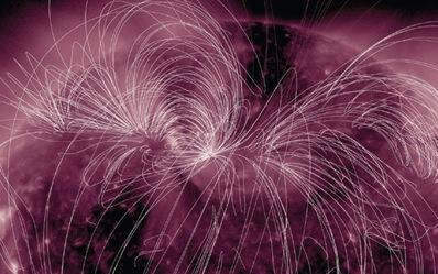 linhas do campo magnético do Sol
