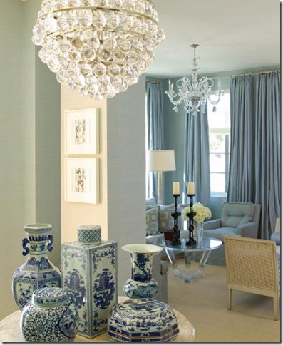 A Charming Blue And White Scene That Contrasts Antique Porcelain With A  Contemporary Chandelier, Interior Design By Nancy Corzine. Photo Credit Ken  Hayden.