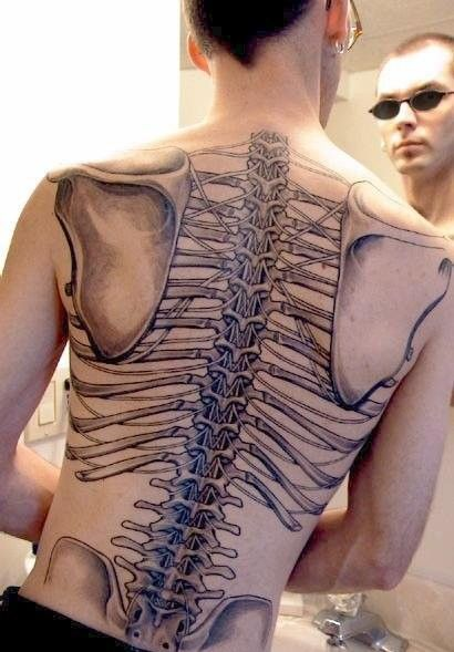 Back skeleton tattoo