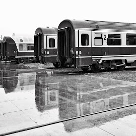 Rest in rain... by Daniel Truta - Transportation Trains ( cool, blackandwhite, streetphotography, monochrome, black and white, beautiful, popular, bw, romania, street scene, monotone, street photography )