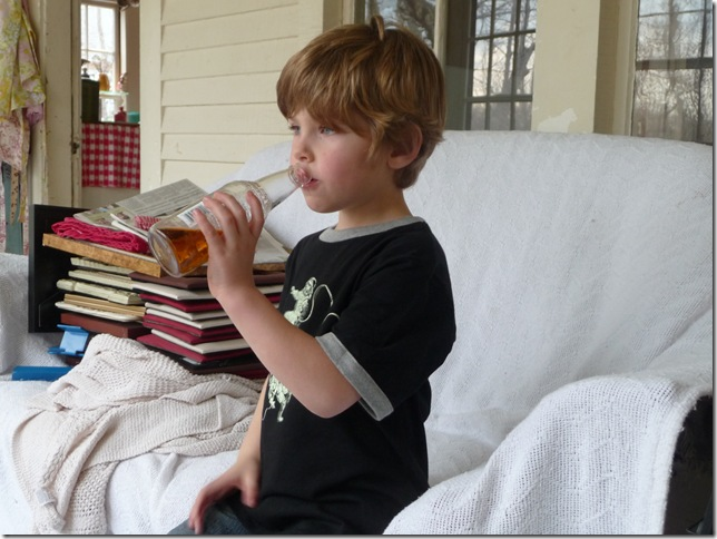 Five year old with his Cream Soda