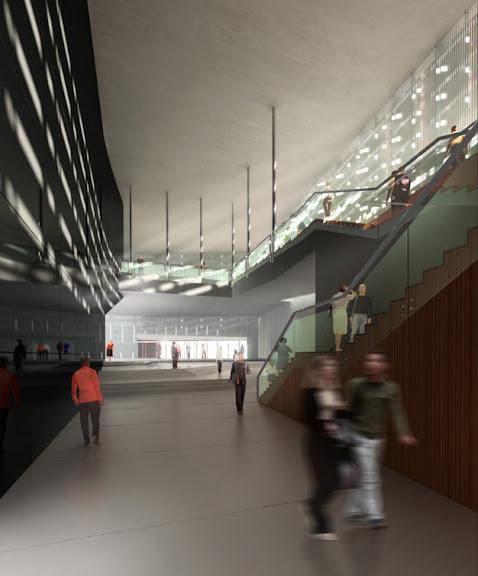 CREAA , vestibulo del auditorio del centro de creacion de las artes de Alcorcon , bienvenida ayuntamiento