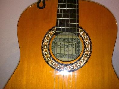 Detalle de la boca de la guitarra Sonora