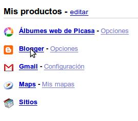 Cuenta de Google - Seleccionar Blogger para administrar el blog