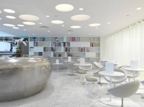 All White and Sleek Interiors of Bond & Brook Restaurant by d_raw