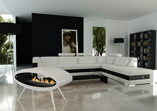 Ceiling / Floor Ethanol Biofuel Fireplace by Decoflame   Ellipse