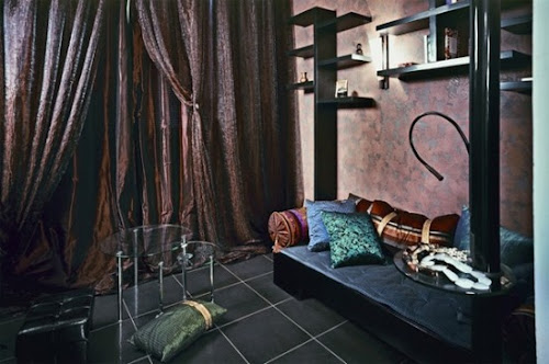 Extremely Modern Apartment Interior In Dark Hues
