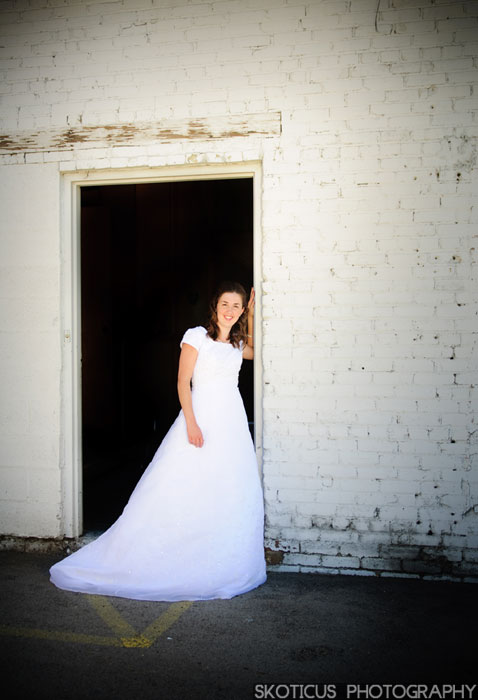 Bride in a doorway