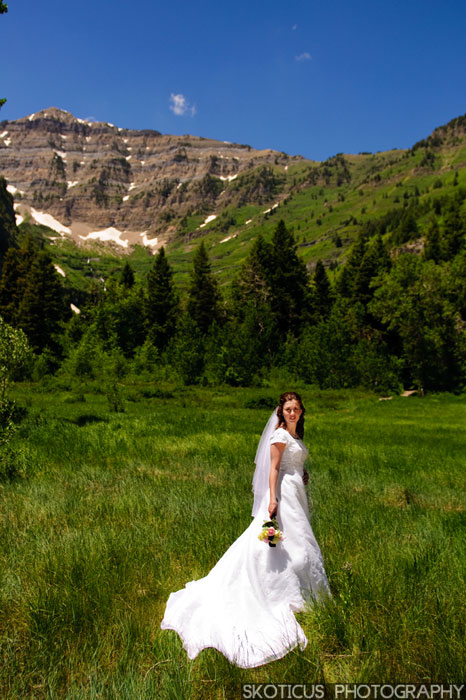Bride in a mountain meadow