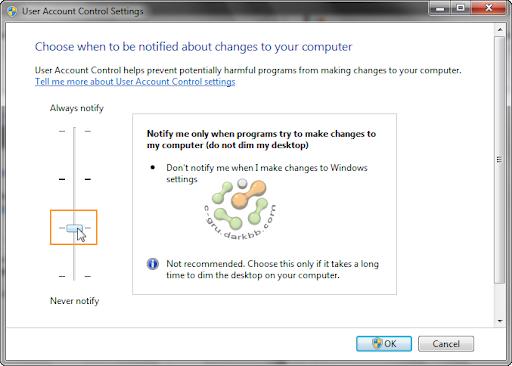 การกำหนดระดับการทำงานของ UAC (User Account Control) ใน Windows 7 Uac6
